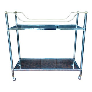 Hollywood Regency Milo Baughman Style Chrome Brass Bar Serving Cart