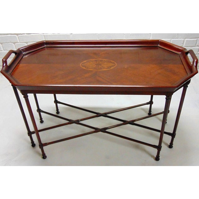Oval Coffee Table Tray: Vintage Oval Inlay Tray Coffee Table