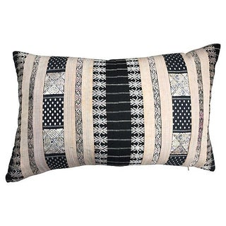 Black & Pink Silk Hill Tribe Pillow