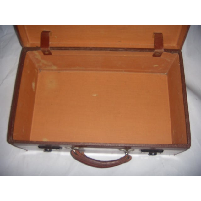Vintage English Brown Leather Suitcase - Image 10 of 11