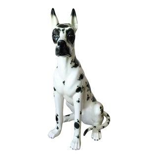 Spanish 20th Vintage Ceramic Lifesize Dog Sculpture Signed by Hispania