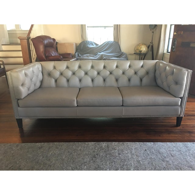 Hancock And Moore Tufted Leather Sofa: Hancock & Moore Gray Tufted Chester Sofa
