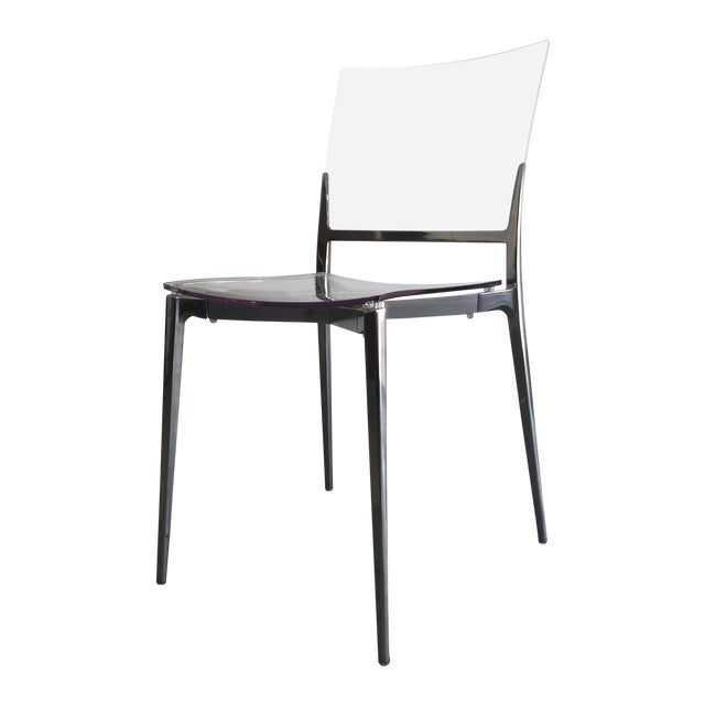 Acrylic and Chrome Dining Chairs - Set of 4 - Image 1 of 5