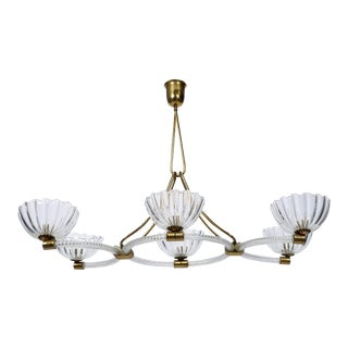 Extra Large Ercole Barovier Art Deco 6-Light Murano Chandelier