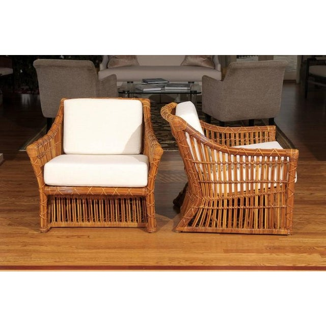 Magnificent Pair of Restored Vintage Rattan Club Chairs by McGuire - Image 3 of 10