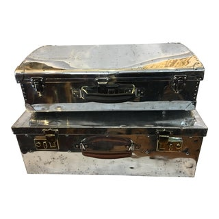 Vintage Polished Aluminum Suitcases - A Pair