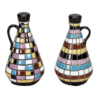 Mid Century Op Art Inspired Ceramic Oil and Vinegar Set