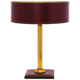 Jacques Adnet Leather-Clad Table Lamp