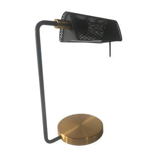 Modernist Banker's Black & Brass Table Light