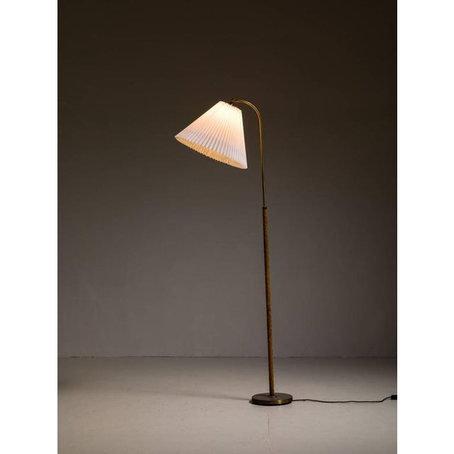 Danish Brass with Woven Leather Height-Adjustable Floor Lamp, 1930s - Image 3 of 4
