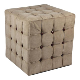 Sarreid Ltd Canvas & Leather Tufted Stool