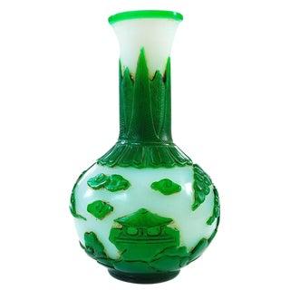 "Chinese Antique 9"" Green & White Pecking Vase"