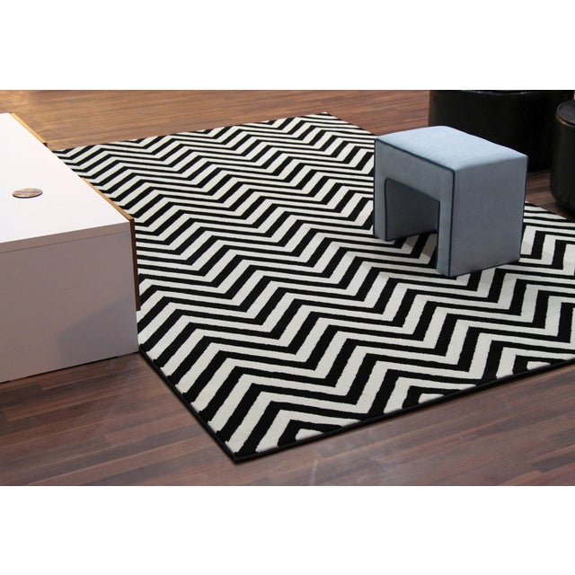 "Black and White Chevron Rug - 5'3"" x 7'4"" - Image 5 of 6"