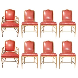Faux Bamboo Chinese Chippendale Vinyl Chairs - Set of 8