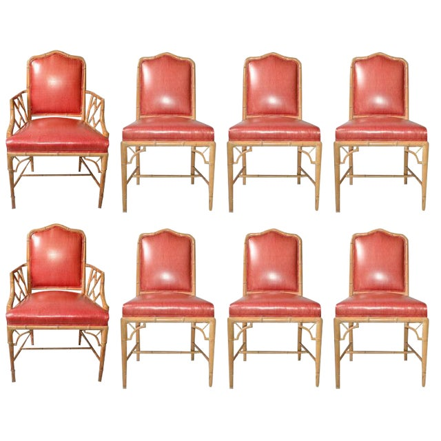 Faux Bamboo Chinese Chippendale Vinyl Chairs - Set of 8 - Image 1 of 10