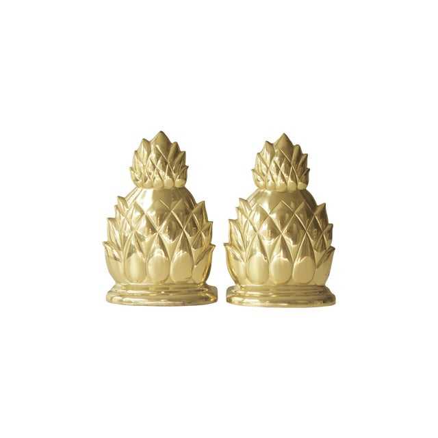 Large Brass Pineapple Bookends - Pair - Image 1 of 7