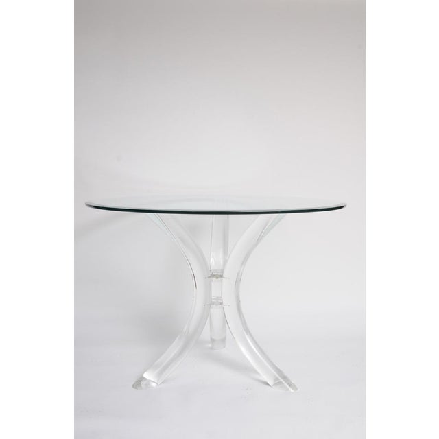 Thick Tube Lucite Table Base and Glass Top - Image 7 of 9