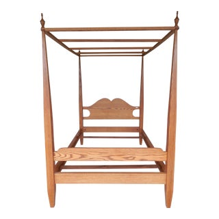 Tom Seely Solid Oak Shaker Style Full Size Tester Canopy Poster Bed