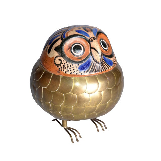 Image of Brass and Pottery Hand Crafted Owl