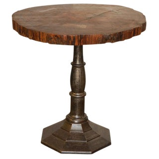 Tree Cross Section Table with Iron Base