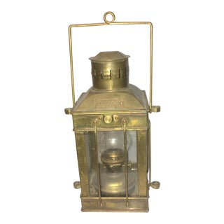 Vintage Brass Great Britain Cargo Light Oil Lamp