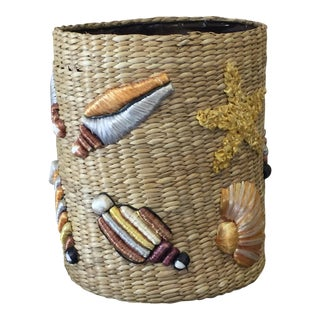 Vintage Raffia Basket With Shell Motif