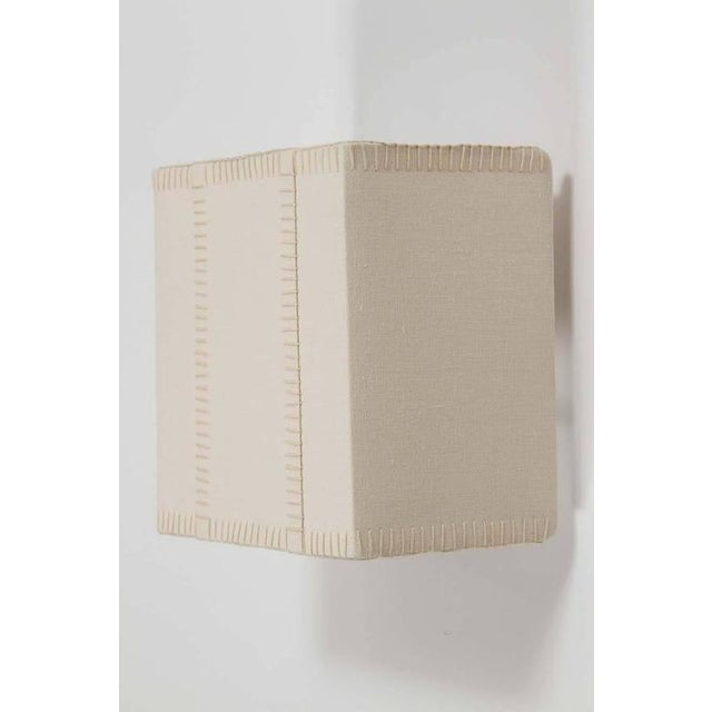 Image of Hand-Stitched Laced Linen Shaded Wall Sconces