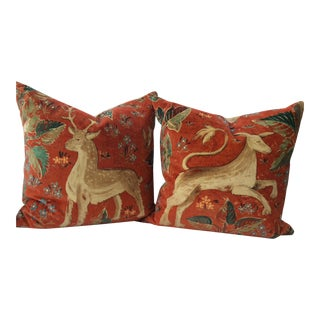Melissa White Zoffany Arden Red Down Pillow - A Pair