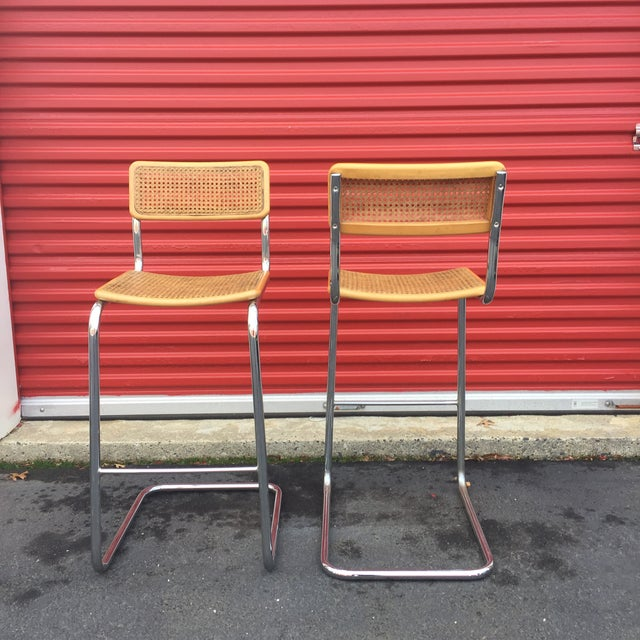 Mid-Century Cane Cesca Bar Stools With Chrome by Marcel Breuer - A Pair - Image 8 of 8