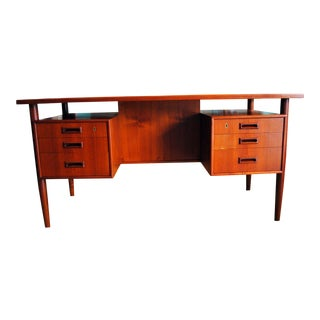 1960's Danish Modern Teak Executive Desk