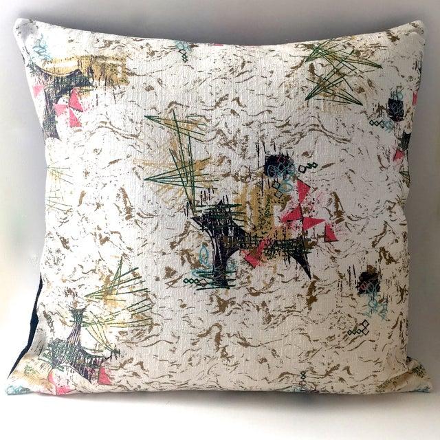 Mid-Century Barkcloth Pillow - Image 4 of 5