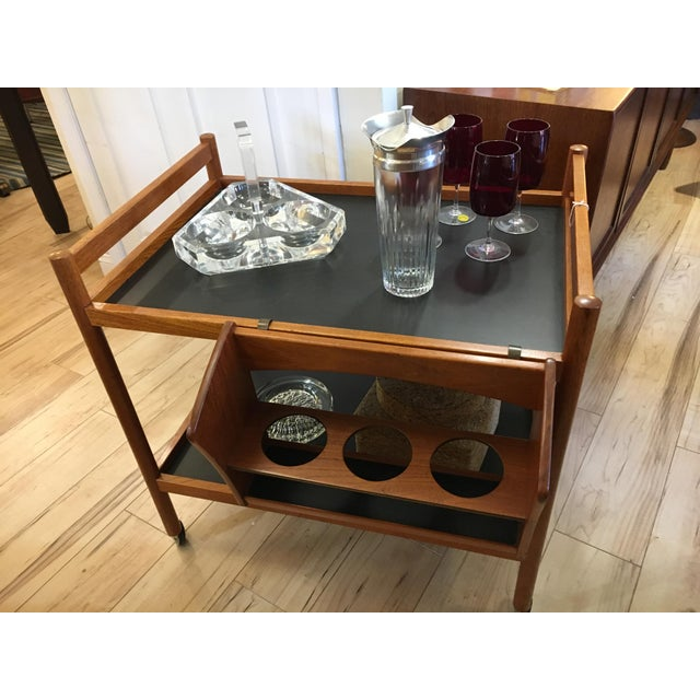 Danish Teak Bar Cart With Removable Wine Caddy - Image 9 of 10