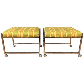 Vintage Milo Baughman-Style Small Wheeled Benches - A Pair