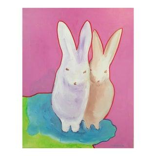 """""""The Bunnies"""" Pop Art Actylic Portrait in Pink"""