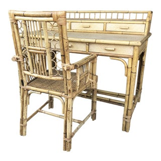 Bamboo, Raffia & Cane Desk + Chair
