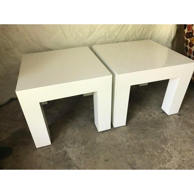 Vintage Mod White Laminate Parsons Tables - a Pair - Image 3 of 5