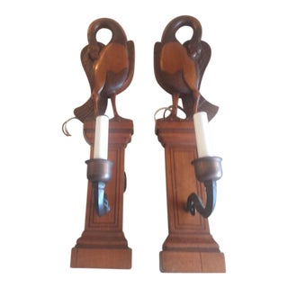 Antique Satin Wood Walnut Swan Wall Sconces - a Pair