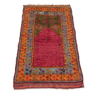 "Antique Turkish Prayer Rug - 3'4"" X 5'8"""