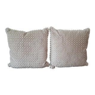 Custom Kravet Taupe Velvet Pillows - A Pair