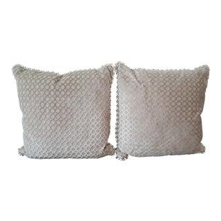 Custom Kravet Taupe Velvet Pillows - A Pair