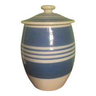 English Blue and White Ceramic Jar With Lid