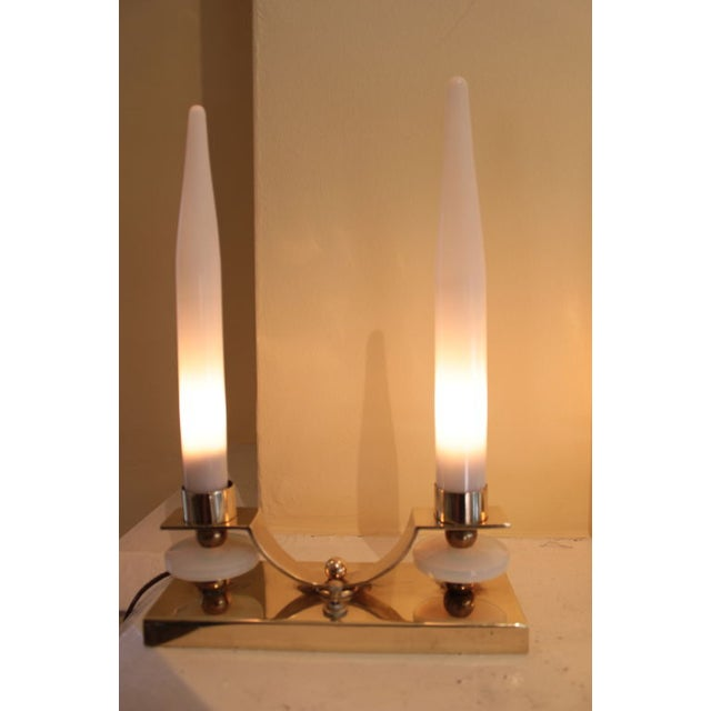 Image of Jacques Adnet Brass Glass Candlestick Lamp - Pair