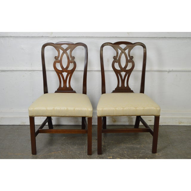 Baker Vintage Set of 6 Solid Mahogany Chippendale Style Dining Chairs - Image 8 of 10