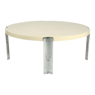 Marbelized Composite & Chromed Steel Circular Cocktail Table
