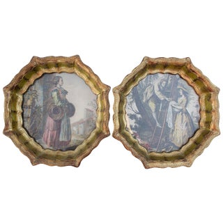 Florentine Trays With Hand Tinted Engravings - 2
