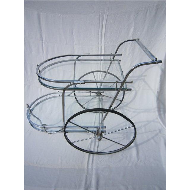 Italian Chrome Bar Cart - Image 3 of 6