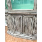 Image of Gray Mid-Century China Cabinet Hutch