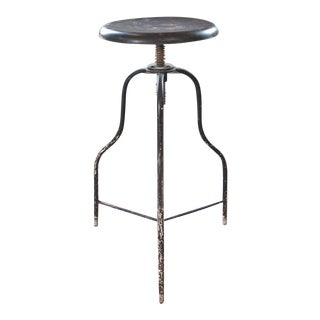 Vintage Black Metal Medical Stool with Three Legs, Adjustable Seat Height