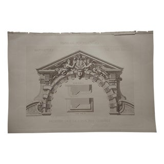 Large Antique Sepia Architectural Engraving