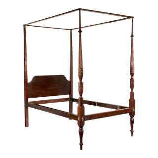 Carved Mahogany Sheraton Tall Post Bedframe